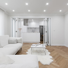 클래식하고 따뜻한 20평대 빌라 인테리어 클래식스타일 거실 by husk design 허스크디자인 클래식