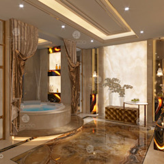 Luxury Master Bathroom with Onix finishing من Spazio Interior Decoration LLC كلاسيكي رخام