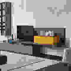 TV-hoek: modern  door Kroneman Interieurs, Modern Hout Hout