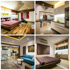 Private Residence Archmaze Modern style bedroom Wood Brown