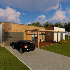 Modelo | T3 169m² por Discovercasa | Casas de Madeira & Modulares Moderno Madeira Acabamento em madeira