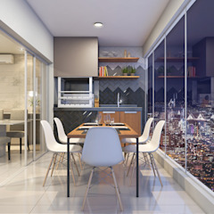 Estúdio j2G| Arquitetura & Engenharia Moderne balkons, veranda's en terrassen Keramiek Grijs