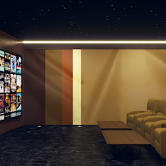 Home Cinema Room in Dubai Custom Controls Ruang Media Modern