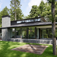 053 i-house in 軽井沢 の atelier137 ARCHITECTURAL DESIGN OFFICE クラシック 石