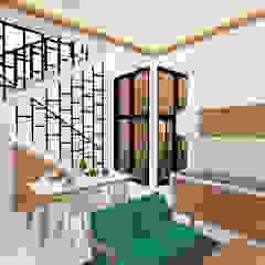 Rumah Kelapa Gading Mrs. Vika's. Ruang Keluarga Tropis Oleh SEKALA Studio Tropis Batu Bata