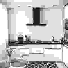 Nowoczesna, czarno-biała kuchnia z okapem przyściennym od GLOBALO MAX Minimalistyczny Cegły