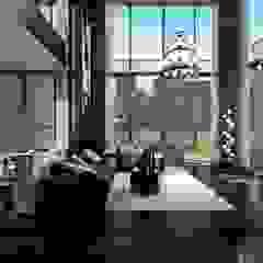Thiết kế nội thất Penhouse Masteri Millenium - Phong cách hiện đại kết hợp Đông Dương Phòng khách phong cách châu Á bởi ICON INTERIOR Châu Á