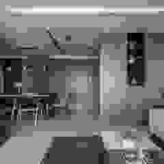新北永和 敦南一品 Chen residence 双設計建築室內總研所 现代客厅設計點子、靈感 & 圖片