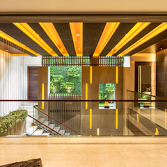 The Double Height Ceiling Modern Corridor, Hallway and Staircase by Planet Design & Associates Modern