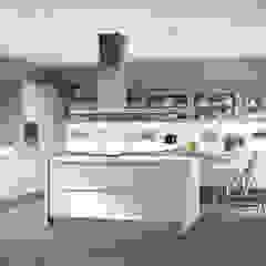 Cozinha e sala moderna, cores claras em Braga por Area design interiores Moderno