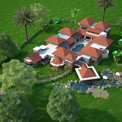 NEONZ LIFESTYLE AND RECREATION CLUB AND RESORT Mediterranean style hotels by Hardik Soni Architects Mediterranean