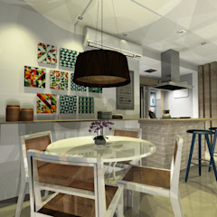 Cobertura da Família Salas de jantar mediterrâneas por Onix Designers Mediterrâneo