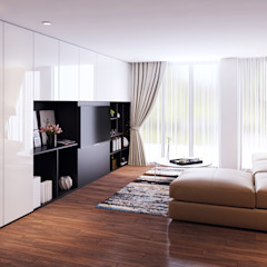 Transitional Style at Thomson Terrace Modern media room by Singapore Carpentry Interior Design Pte Ltd Modern