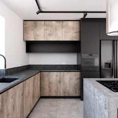 365 Stopni Industrial style kitchen Wood Black