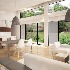 Casa J Salas modernas de Andrés Hincapíe Arquitectos A H A Moderno Concreto