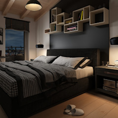 CAMERE - Render fotorealistici d'interni Camera da letto in stile industriale di Insighters Computer Graphics Industrial