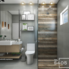 Industrial style bathroom by STUDIO 405 - ARQUITETURA & INTERIORES Industrial