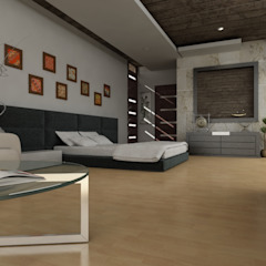 OLLIN ARQUITECTURA Small bedroom Concrete Grey