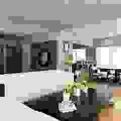 OLLIN ARQUITECTURA Modern Living Room Solid Wood Grey