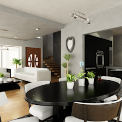 OLLIN ARQUITECTURA Modern Dining Room Solid Wood Grey