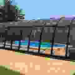 Zadaszenia basenów Gracja Exlusive Nowoczesny basen od GRACJA SP. Z O.O. Nowoczesny Drewno O efekcie drewna