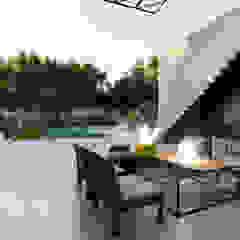 VIVIENDA UNIFAMILIAR Lomas de City Bell #251 Balcones y terrazas modernos: Ideas, imágenes y decoración de Arq Olivares Moderno Hormigón