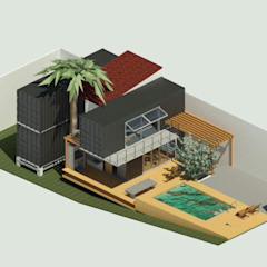 Volumetria casa contêiner Oria Arquitetura & Construções Casas pré-fabricadas Ferro/Aço Metalizado/Prateado
