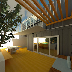 Fachada Contêiner Oria Arquitetura & Construções Casas pré-fabricadas Ferro/Aço Metalizado/Prateado