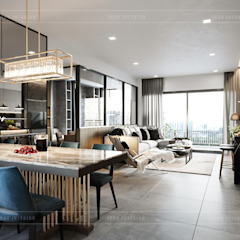 Thiết kế nội thất căn hộ Sunrise Cityview - Phong cách hiện đại sang trọng Phòng ăn phong cách hiện đại bởi ICON INTERIOR Hiện đại