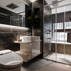 線.構 現代浴室設計點子、靈感&圖片 根據 築川設計 現代風