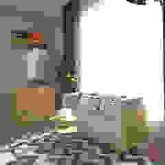 D&A House Cimanggis Kamar Tidur Gaya Industrial Oleh Dwello Design Industrial Kayu Lapis