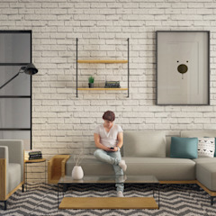 D&A House Cimanggis Ruang Keluarga Gaya Industrial Oleh Dwello Design Industrial Batu Bata