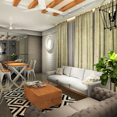 UPCOMING 3BHK - AT TINSEL TOWN, HINJEWADI. Country style living room by DESIGN EVOLUTION LAB Country Wood Wood effect