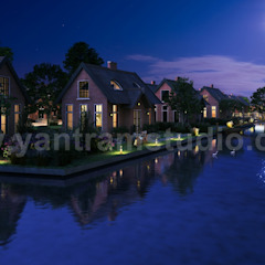 Romantic Night View of Waterside Villa 3D Exterior Design Companies By Yantram 3D Architectural Design Studio, Sydney-Australia من Yantram Architectural Design Studio كلاسيكي