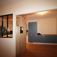 Agence ADI-HOME Modern kitchen Wood-Plastic Composite Blue