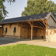 Rustic style garage/shed by steda - So muss das! Rustic Wood Wood effect
