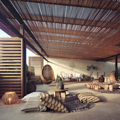 Tropical style study/office by Construcciones del Carmen Tropical