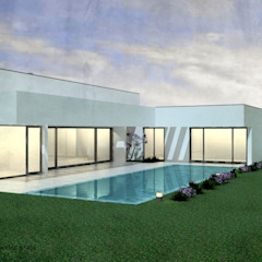 Casa da Piscina | Azeitão por ATELIER OPEN ® - Arquitetura e Engenharia Minimalista Derivados de madeira Transparente