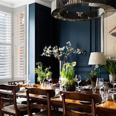 A Classic Contemporary Home in Clapham South Plantation Shutters Ltd Ruang Makan Modern Parket White