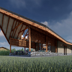 Restaurante Campestre Maras Jardines de estilo rústico de FRANCO CACERES / Arquitectos & Asociados Rústico