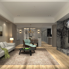 百玥空間設計 ─ 凝聚 百玥空間設計 现代客厅設計點子、靈感 & 圖片 大理石 White
