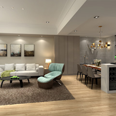 百玥空間設計 ─ 凝聚 百玥空間設計 现代客厅設計點子、靈感 & 圖片 水泥 Brown