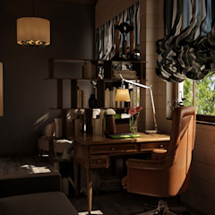 Rustic style study/office by Irina Yakushina Rustic Wood Wood effect