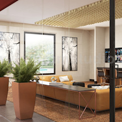 Modern Video Game, Wine Room & Impressive lobby Ideas to enhance Interior Design Studio by Architectural Animation Services, Vegas – USA Modern corridor, hallway & stairs by Yantram Architectural Design Studio Modern Concrete