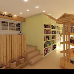 """Talho - Mercearia """"C&S"""" Lojas e Espaços comerciais campestres por Traço M - Arquitectura Campestre Madeira Acabamento em madeira"""