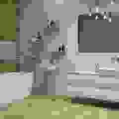Imitacja drewna na ścianach i podłodze w łazience Klasyczna łazienka od Portal Domni.pl Klasyczny Ceramiczny