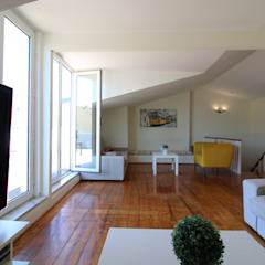 Apartamento Duplex T4 Arroios - Lisboa Salas de estar mediterrânicas por EU LISBOA Mediterrânico