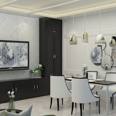 DSL Studio Modern Dining Room Engineered Wood White