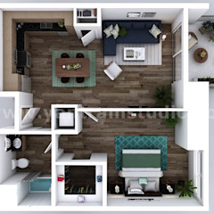 Small New Style One Bedroom Apartment floor plan design company by architectural visualisation studio, Dallas – USA من Yantram Architectural Design Studio كلاسيكي