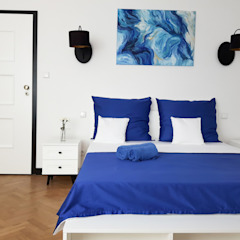 Projekt apartamentów Villa Romańskiego - Kasztelańska 8 - Gdynia Eklektyczna sypialnia od Martyna Szulist Eklektyczny